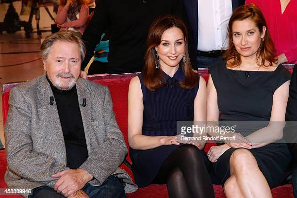 Main Guest of the show actor Victor Lanoux actresses Elsa Zylberstein and Emmanuelle Devos attend the 'Vivement Dimanche' French TV Show at Pavillon...