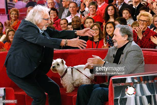 Main Guest of the show actor Victor Lanoux here with his dog Babette and his frien actor Pierre Richard presents his book 'Deux heures a tuer au bord...