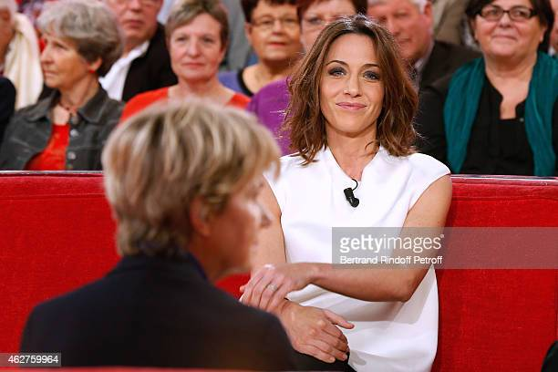 Main guest of the show Actress Miou Miou and TV Host Virginie Guilhaume who presents the 30th anniversary of 'Victoires de la Musique' wich she will...