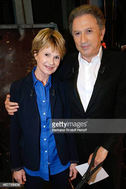 Main Guest of the show Actress Miou Miou who presents the Theater play 'Des gens bien' performed at Theatre Hebertot and presenter of the show Michel...