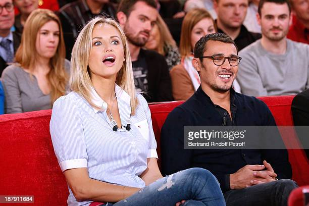 Main guest of the show Adriana Karembeu and Boxer Brahim Asloum who presents his movie 'Victor Young Perez' attend the 'Vivement Dimanche' French TV...