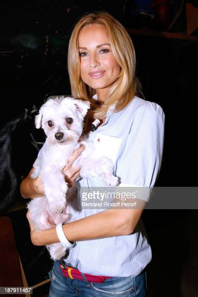 Main guest of the show Adriana Karembeu and her dog Tarzan attend the 'Vivement Dimanche' French TV Show held at Pavillon Gabriel on November 13 2013...