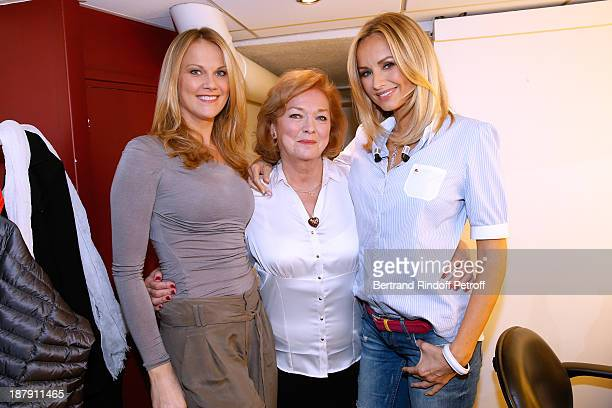 Main guest of the show Adriana Karembeu her mother Zlatica and her sister Natalia attend the 'Vivement Dimanche' French TV Show held at Pavillon...