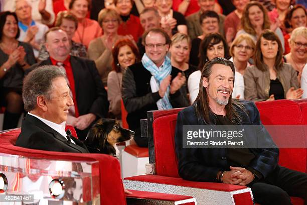 Main guest of the show for his new album 'Vieillir avec toi', singer Florent Pagny and presenter of the show Michel Drucker with his dog attend...
