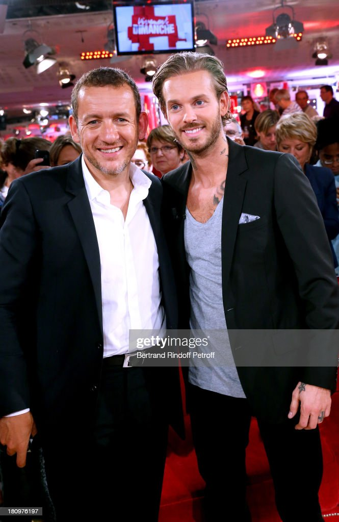 Main Guest of the show, humorist Dany Boon and singer Matt Pokora from musical comedy 'Robin des Bois' attend 'Vivement Dimanche' French TV Show at Pavillon Gabriel on September 18, 2013 in Paris, France.