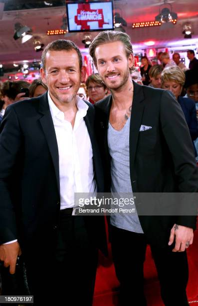 Main Guest of the show humorist Dany Boon and singer Matt Pokora from musical comedy 'Robin des Bois' attend 'Vivement Dimanche' French TV Show at...