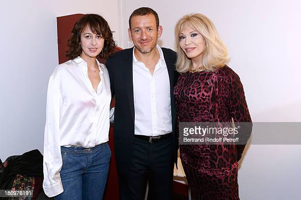 Main Guest of the show humorist Dany Boon standing between actress Valerie Bonneton both from movie 'Eyjafjallajokull' and actress from piece...