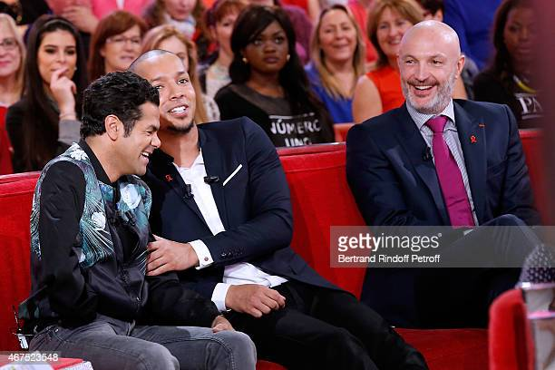 Main guest of the show Humorist Jamel Debbouze Humorist Waly Dia and Former Football player Frank Leboeuf attend the 'Vivement Dimanche' French TV...