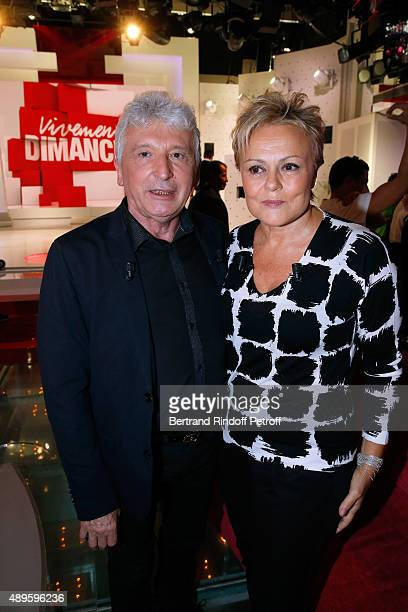 Main Guest of the Show Humorist Muriel Robin and her Stage Director from her beginnings Roger Louret attend the 'Vivement Dimanche' French TV Show at...