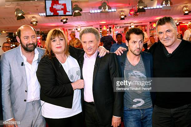 Main guest of the show Kad Merad Michele Bernier Michel Drucker Frederic Diefenthal and JeanMarie Bigard attend the 'Vivement Dimanche' French TV...