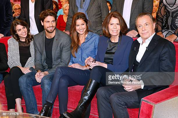 Main guest of the show Michel Leeb with his children Elsa Leeb Tom Leeb Fanny Leeb and his wife Beatrice Leeb attend the 'Vivement Dimanche' French...