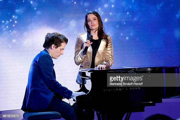 Main Guest of the show Singer Benabar and actress Marie Gillain perform during the 'Vivement Dimanche' French TV Show at Pavillon Gabriel on January...
