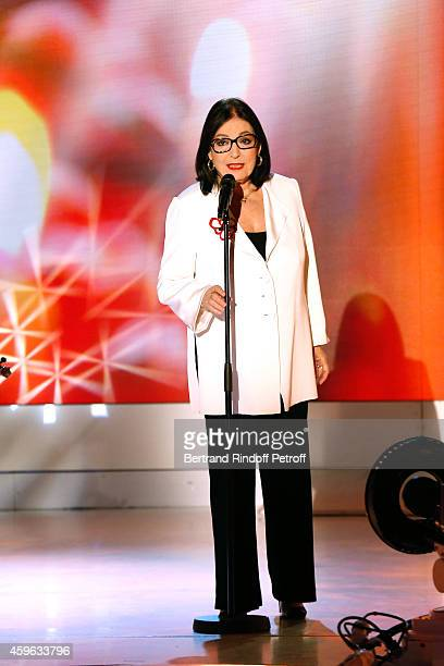 """Main guest of the show, singer Nana Mouskouri performs and presents her """"Happy birthday tour"""" during the 'Vivement Dimanche' French TV Show at..."""