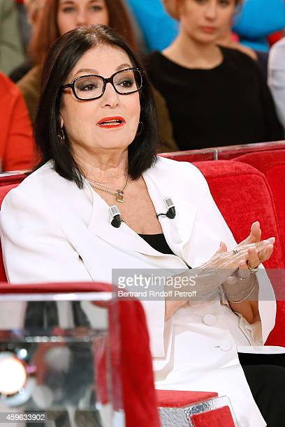 """Main guest of the show, singer Nana Mouskouri presents her """"Happy birthday tour"""" during the 'Vivement Dimanche' French TV Show at Pavillon Gabriel on..."""