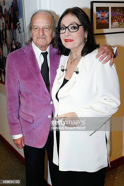 Main guest of the show singer Nana Mouskouri who presents her Happy birthday tour and her husband Andre Chapelle attend the 'Vivement Dimanche'...