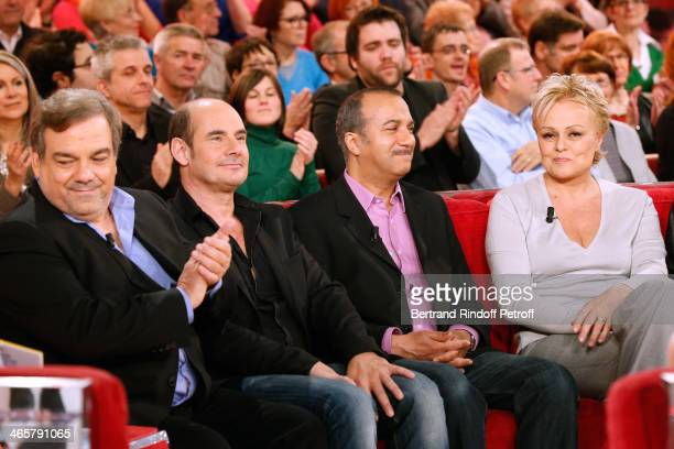 Main guests 'Les Inconnus' Didier Bourdon Bernard Campan and Pascal Legitimus present their movie 'Les Trois freres le retour' and Humorist Muriel...