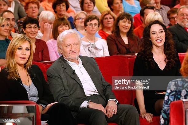 Main guiest of the show actress mathilde Seigner with Stage Director Niels Arestrup and his wife actress Isabelle Le Nouvel who present the theater...