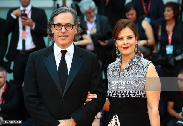 Main Jury member Rodrigo Prieto and Monica Prieto walks the red carpet ahead of the closing ceremony of the 76th Venice Film Festival at Sala Grande...