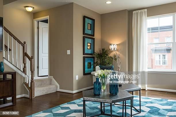 Main Level Living Area with Staircase and Powder Room in the Parker Model at Parkside on February 7 2016 in Washington DC
