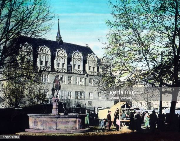 Main market and city hall of Naumburg Thuringia 1920s