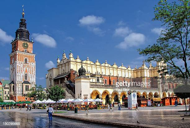 main market square  cloth hall - krakow stock pictures, royalty-free photos & images