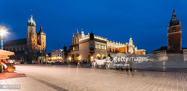 Main Market square of Krakow at a summer evening