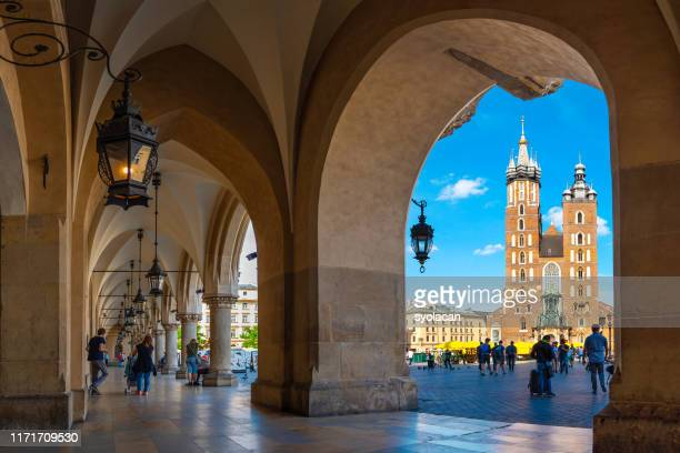 main market square of krakow - syolacan stock pictures, royalty-free photos & images