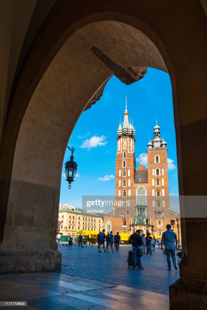 Main market square of Krakow : Stock Photo
