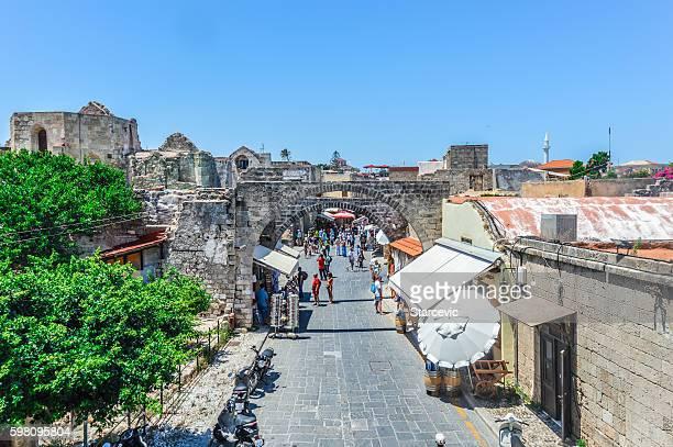 Main market street in Rhodes, Greece