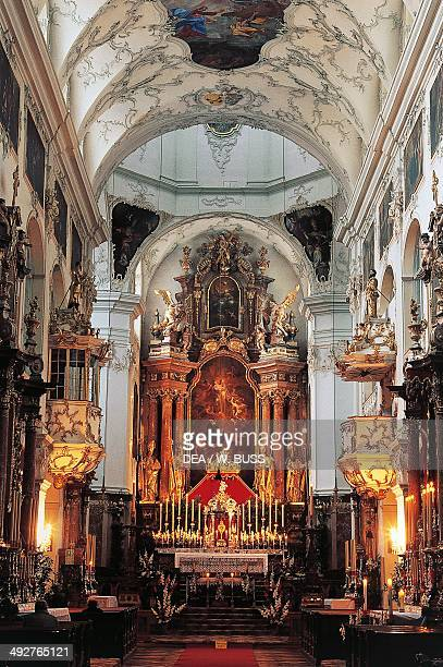 Main nave and altar of St Peter's Abbey Church in Rococo style Salzburg Austria