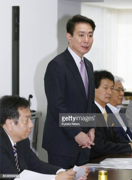 Main opposition Democratic Party leader Seiji Maehara attends a party meeting in Tokyo on Sept 26 a day after Prime Minister Shinzo Abe announced he...