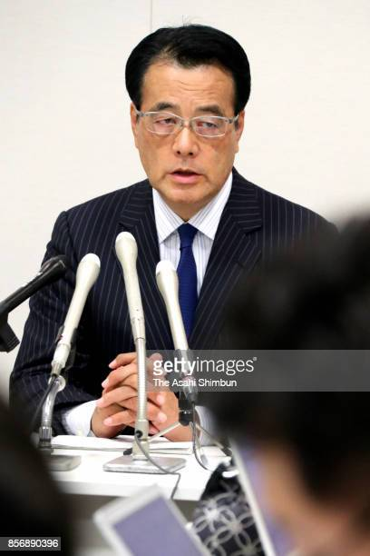 Main opposition Democratic Party Standing Advisor Katsuya Okada speaks during a press conference saying he will not join new parties on October 2...