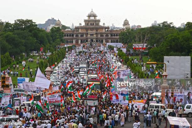Main Opposition party Indian National Congress Chairperson Rahul Gandhi's supporters during his roadshow in Jaipur Rajasthan India August 112018...
