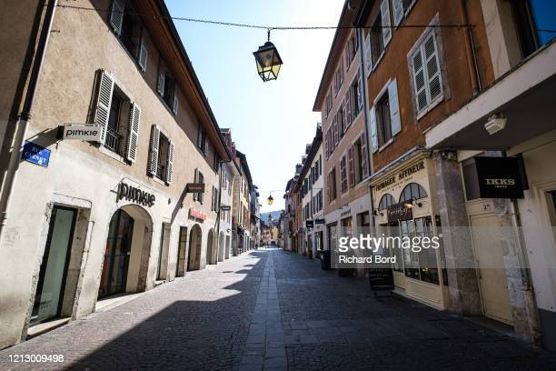 Main pedestrian street 'Rue Carnot' is deserted on March 17, 2020 in Annecy, France. Coronavirus has spread to over 156 countries in a matter of...