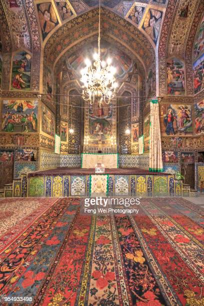 main prayer hall, vank cathedral, isfahan, iran - monastery stock pictures, royalty-free photos & images