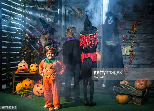"""main question at halloween """"trick or treat"""" - halloween party stock photos and pictures"""