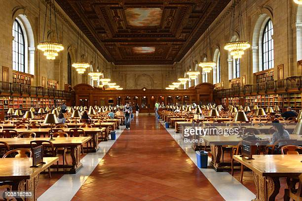 main reading room of new york public library. - new york public library stock pictures, royalty-free photos & images