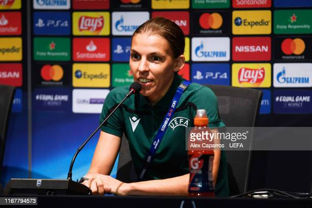 Main referee Stephanie Frappart of France faces the media during a press conference ahead of UEFA Super Cup Final between Liverpool and Chelsea at...