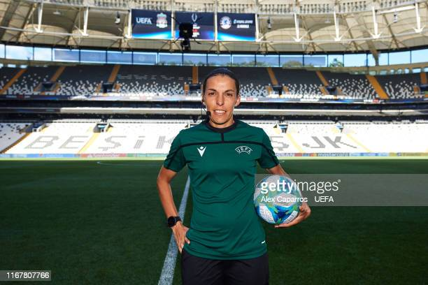 Main referee Stephanie Frappart of France poses with the official match ball before a training session ahead of UEFA Super Cup Final at Besiktas Park...