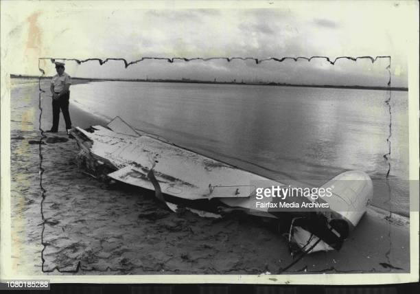 main runway The wing was towed to the beach by the water policeWreckage of the Pelair Westwind aircraft while crashed off Botany Bay in October last...