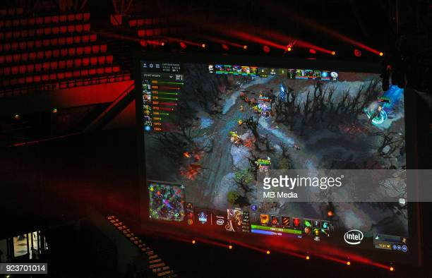 Main screen during Dota 2 Major match between Virtuspro and Evil Geniuses on February 24 2018 in Katowice Poland