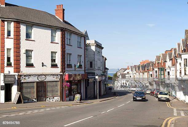 Main shopping street in Oystermouth Mumbles Gower peninsula near Swansea South Wales UK