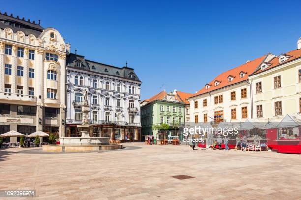 main square in downtown bratislava slovakia - bratislava stock pictures, royalty-free photos & images