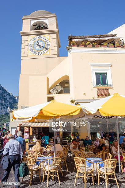 main square of capri with bell tower - capri stock pictures, royalty-free photos & images