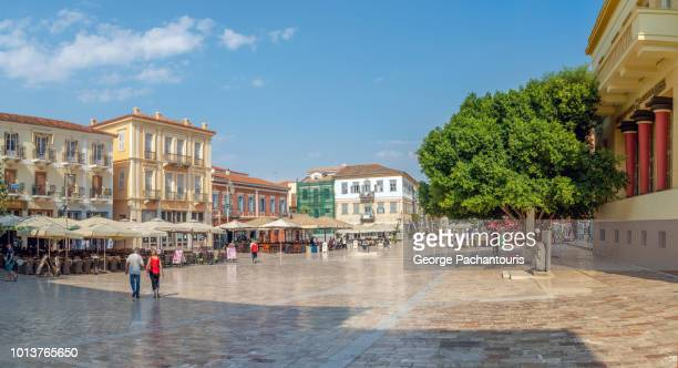main square of nafplio, greece - town square stock pictures, royalty-free photos & images