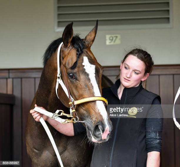 Main Stage with strapper Mel Horne after winning the UCI Stakes at Flemington Racecourse on October 07 2017 in Flemington Australia