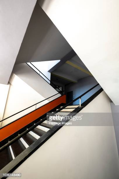 Main staircase The Bauhaus building Dessau Germany 2018 Designed by Walter Gropius 192526
