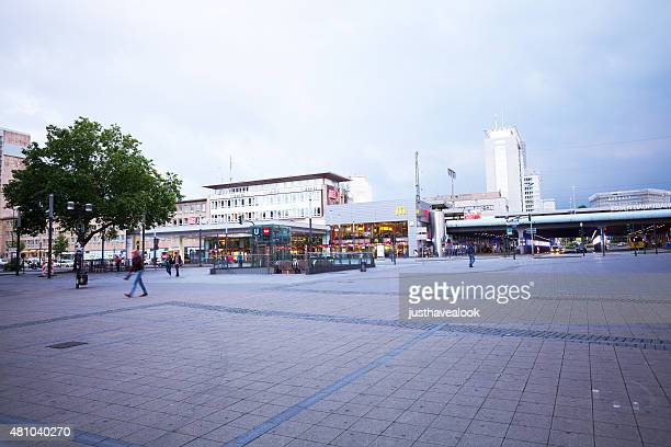 main station essen seen from willy-brandt-platz at midsummer - essen germany stock pictures, royalty-free photos & images