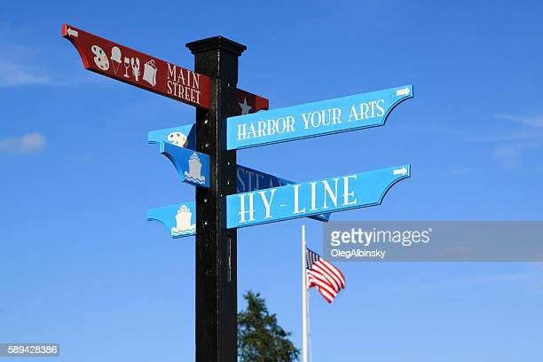 main street and hy-line signs, hyannis, cape cod, massachusetts, usa. - hyannis port stock pictures, royalty-free photos & images