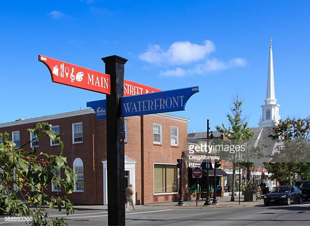 main street and waterfront signs, hyannis, cape cod, massachusetts, usa. - hyannis port stock pictures, royalty-free photos & images
